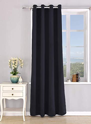 PimPan Tex Cortina Blackout Opaca con 8 ollao (1 Unidad X 140x260) para salón, habitación y Dormitorio. Modelo Mary (Negro)