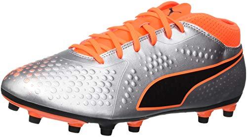 Puma Herren ONE 4 SYN FG Fußballschuhe, Silber Silver-Shocking Orange Black 01, 46.5 EU