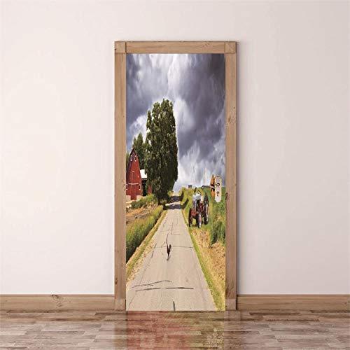 Fantxzcy adesivo per porta Nuvole idilliaco alberi paesaggio 80x200cm Adesivo murale per porta Adesivi per porte 3D Carta da parati autoadesiva murale fai-da-te Adesivi per poster impermeabili in PVC
