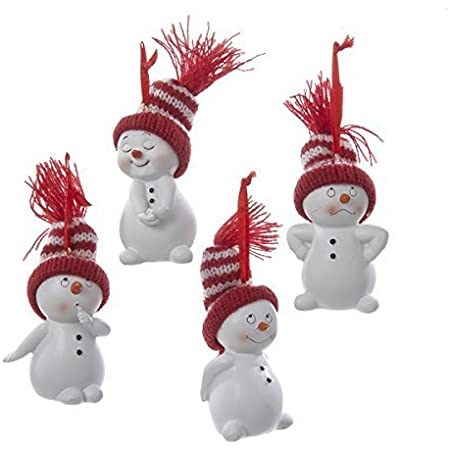 Amazon Com Kurt Adler Snowman With Red And White Stripe Knit Hat Ornament Set Of 4 Home Kitchen