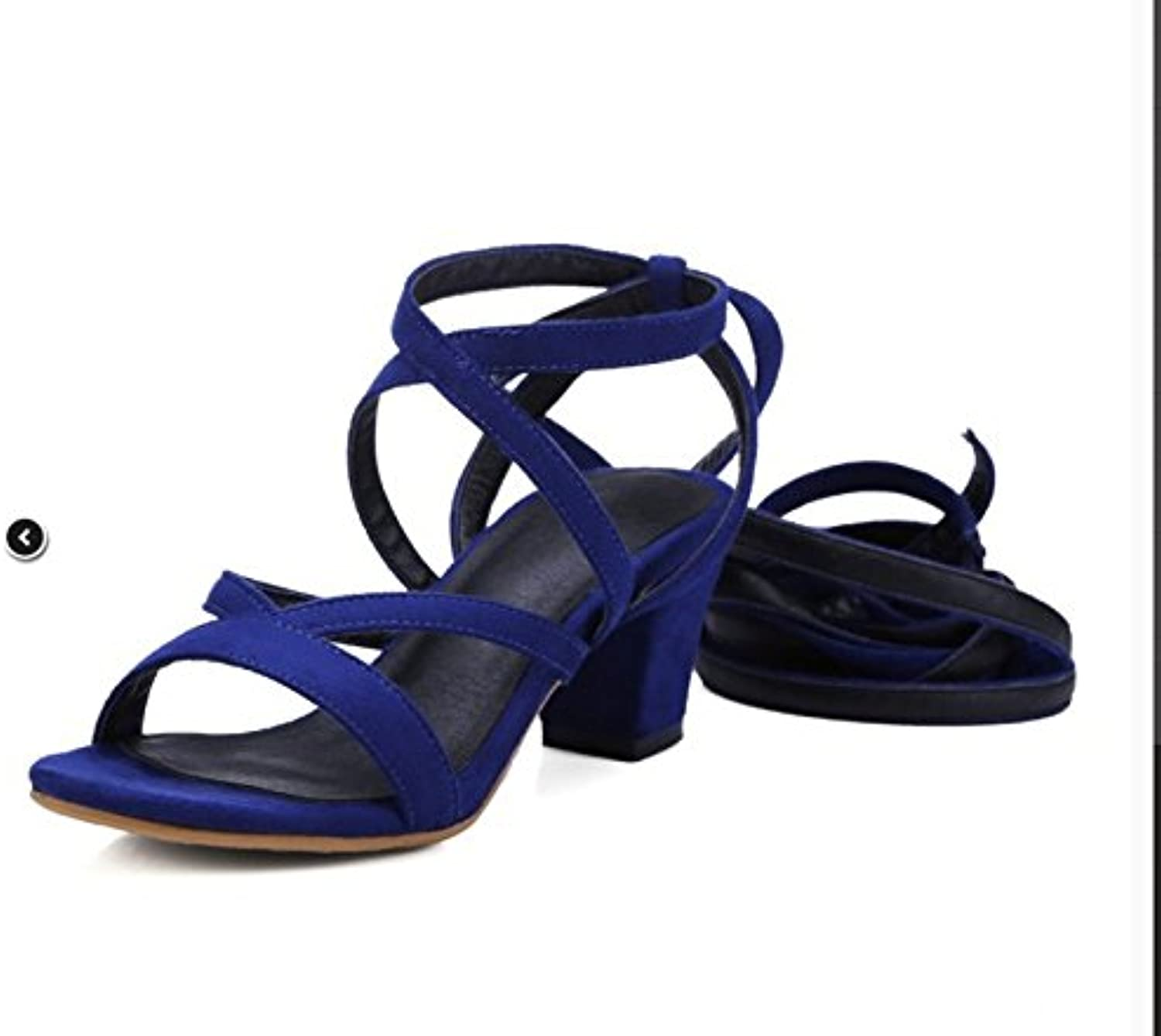 WHW Women's Fish Mouth Spring Summer Fall Leatherette Party Evening Wedge Heel Sandals,35,bluee