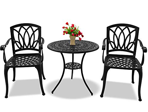 Centurion Supports POSITANO Garden & Patio Table & 2 Chairs Cast Aluminium Bistro Set - Black