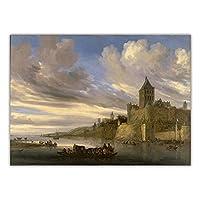サロモンファンルイスダール 'ニジメゲンの川の眺め'キャンバス絵画美的写真壁の装飾家の壁の装飾ポスター70x95cmフレームレス