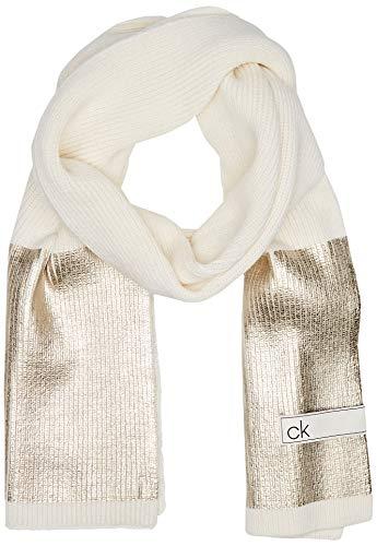 Calvin Klein Damen K60k606173 Mütze, Schal & Handschuh-Set, Weiß (White Yad), One size (Herstellergröße: OS)