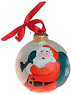 Palla di Natale con Babbo Natale - Sfera in Ceramica - Dipinta a Mano - Diametro 10 cm - Personalizzabile con Nome - Le Ce...