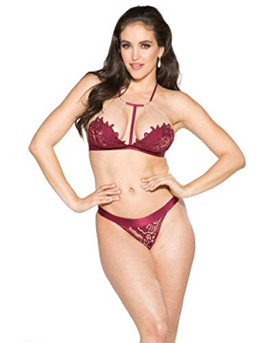 Shirley of Hollywood T-Front Floral Applique Bra & Panty Burgundy/Nude (Large)