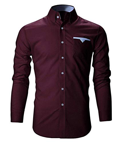 Life Roads Cotton Men's Casual Slim Fit Shirt (Maoon) - 42 Maroon