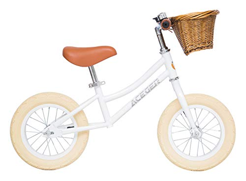 ACEGER Balance Bike for Kids with Basket, Ages 2 to 5 Years(White)
