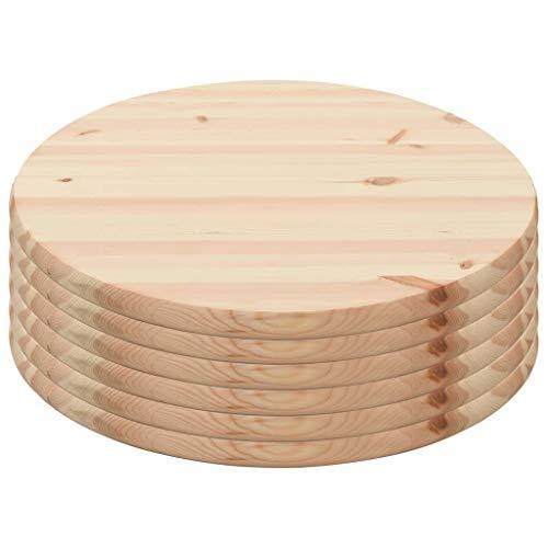 vidaXL 6X Natur Kiefernholz Tischplatte Massivholzplatte Holzplatte Ersatztischplatte Holz Platte für Esstisch Esszimmertisch Rund 25mm 60cm
