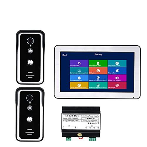 HBHYQ Sistemas de intercomunicadores de Puertas de Video WiFi de WiFi de 10 Pulgadas WiFi WiFi con visión Nocturna de la cámara HD 1000TVL, admiten la aplicación remota de la aplicación, la grabación