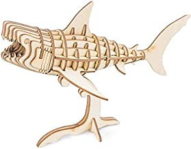 Rolife Build Your Own 3D Wooden Assembly Puzzle Wood Craft Kit Shark Model, Gifts for..