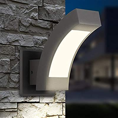 Inowel Waterproof Rainproof Outdoor Lighting Surface Mounting Outdoor Wall Lamp, Painted Grey Color Aluminium Finished 3000K Warm Light Color