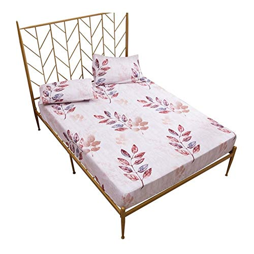 RKRXDH Fitted Sheet Mattress Cover Floral Waterproof Mattress Cover Printed Bed Protector Pad Anti Dust Mite Bed Linens 160x200cm (Color : 4, Size : 100X200X30cm)