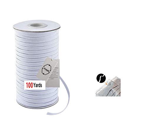 DYRDM 100 Yards Elastic Band for Sewing 1/8' (3mm) Elastic Cord White Braided Elastic Rope Elastic Spool Elastic String Heavy Stretch High Elasticity for Sewing Crafts DIY Bedspread Cuff