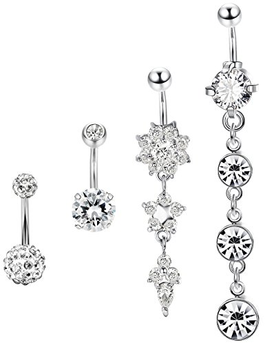 Jstyle 4 Pcs Stainless Steel Dangle Belly Button Rings Navel for Women Curved Barbell Piercing 14G CZ Piercing Set
