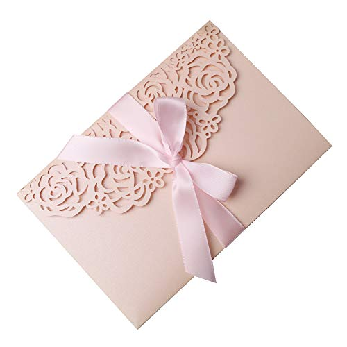 PONATIA 20PCS 3 Folds Burgundy Wedding Invitations Cards with Ribbons for Wedding Bridal Shower Engagement Birthday Graduation Invitation Cards (Blush Pink)