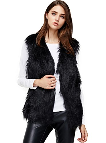ANNA&CHRIS Womens Soft Sleeveless Faux Fur Vest Gradient Waistcoat Jacket, Blue, L