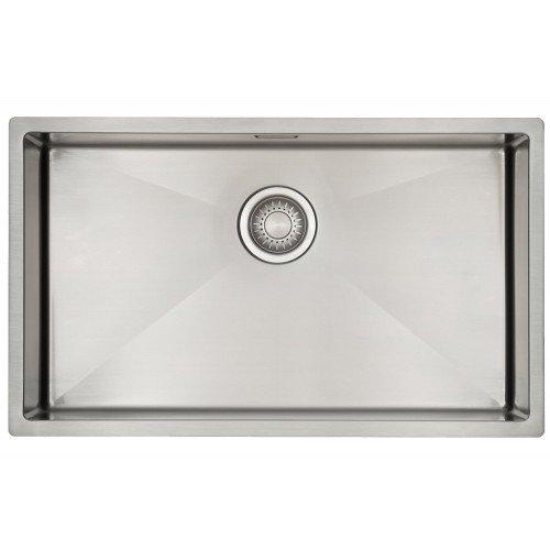 Évier cuisine 1 bac Mizzo Linea 70-40 | Évier en Inox 1.2mm Épais | Rayon Angles internes de 10mm | Simple Bassin | Meuble de 80 cm | Montage à Encastrer, à Fleur ou Sous Plan