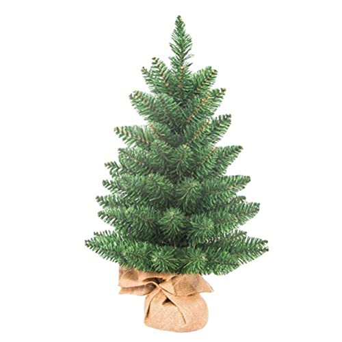 Mini albero di Natale, 60 cm, con base in lino, mini albero di Natale verde, decorazione per la casa