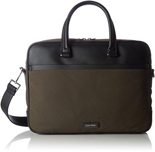 Calvin Klein, Adam nylon laptoptas voor heren, extra tas, groen (zwarte olijf) 12 x 13 x 46 cm