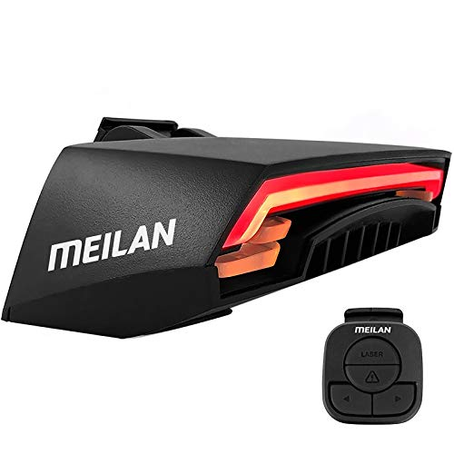 EMK Sports Meilan X5 Cycle Indicator USB Rechargeable Smart Bike Tail Light Wireless Turning Signal Bike Indicator Light Bicycle Rear Light with a Wireless Remote Control Cycling Safety Warning Light