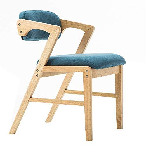 Hong Tai Yang Chaise - Chaise nordique vintage en bois massif, salon, chambre à coucher, salle à manger, chaise longue à accoudoirs (taille 58X52X71 cm) *=* (Couleur : Bleu)