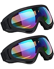 Vicloon Skibril, skibril, snowboardbril, uv-bescherming, motorcrossbril, helmcompatibel, anti-condens, sportbril voor skiën, motorrijden, fietsen, skaten, uniseks