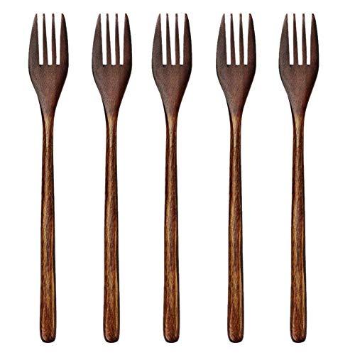 VORA Tenedores de Madera,5 Piezas Ecológico-Simpático Madera Japonesa Ensalada Tenedor de Cena Vajilla Cubiertos para Niios Adultos (5 Piezas Sin Cuerda Tenedores de Madera)