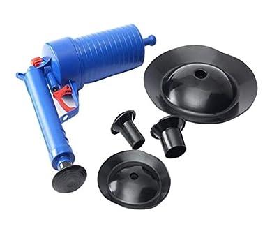 Foto di Sturalavandini ad aria compressa, con 4 ventose, adatto per lo scarico del bagno, dei lavandini e degli altri scarichi di casa, codice 5111, blue