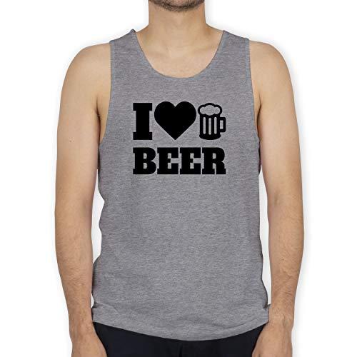Shirtracer Oktoberfest & Wiesn Herren - I Love Beer - schwarz - M - Grau meliert - Tank Top - BCTM072 - Tanktop Herren und Tank-Top Männer