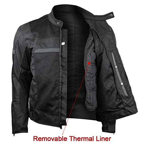 Mens Motorcycle Perforated Textile Reflective Mesh Riding 3 Season Jacket