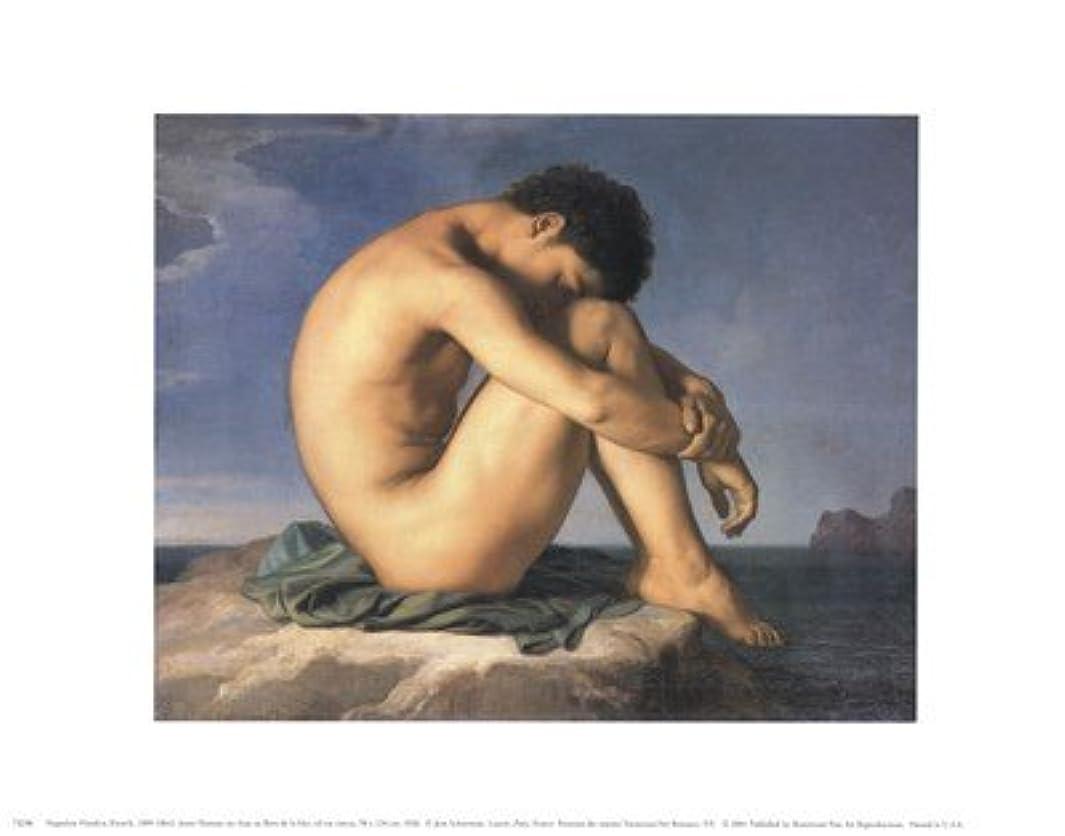 特派員曲圧倒するJeune Homme nu Assis Au Boro de la Mer by Hippolyte Flandrin?–?14?x 11インチ?–?アートプリントポスター LE_58691