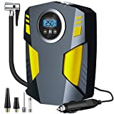 Aibeau Digital Tyre Inflator, Portable Air Compressor Tire Inflator 12V Rapid Electric Car Tyre Inflator Air Pump, 3 Nozzle Adaptors and Digital LED Light for Car Tires, Bicycles and Other Inflatables