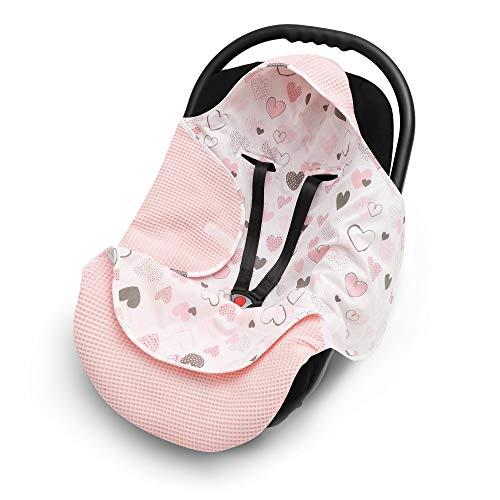 EliMeli Einschlagdecke für Babyschale 100% Baumwolle - Leichte Baby Decke für Autositz aus Waffelstoff und Baumwolle für den Sommer und Frühling, universal z.B. Maxi Cos (Rosa)