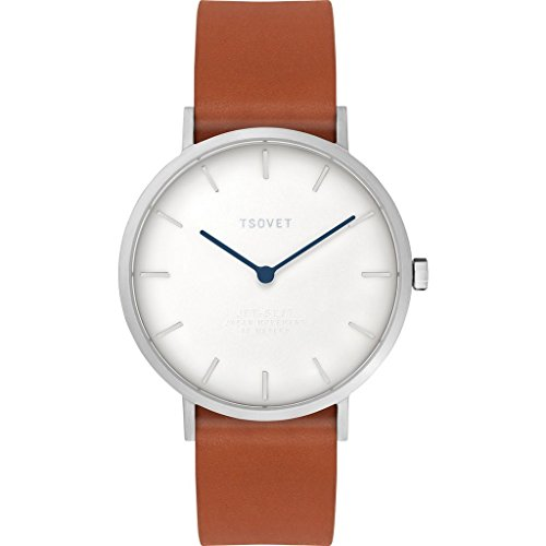 Tsovet SVT-SL37 Silver & White Watch | Tan Leather