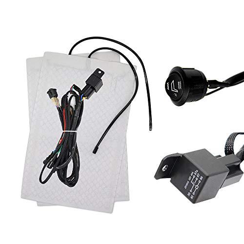 Auto Carbon Sitzheizung Kecheer Auto Seat Heater Kit Hi/Lo-Einstellung 1 Sitzpolster 1 Round Switch Sitzheizungskissen Beheiztes Sitzkit