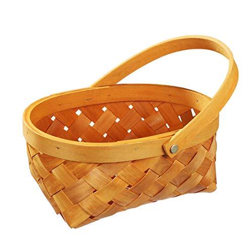 VOSAREA Bügelkorb Henkelkorb Picknickkorb mit Griff Rattankorb Obstkorb Geflochten Korb für Küchen Handwerk (klein)