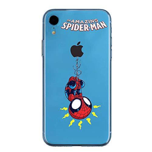 IPXr Couverture Coque Cover TPU Gel Transparent, Doux, Garde, Protecteur, Baby Hero Collection Spéciale, Spider Man, iPhone XR