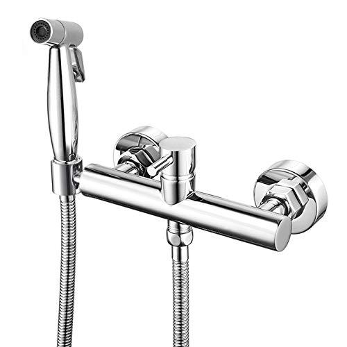 Bidet Sprayer Faucet Set for Toilet Wall Mount 6 Inch Handheld Stainless Steel Bathroom Bidet Attachment Chrome Warm Mixer Strong Water Pressure Sprayer Single Handle