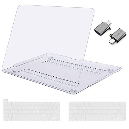 MOSISO MacBook Pro 13 inch Case 2020 2019 2018 2017 2016 Release A2289 A2251 A2159 A1989 A1706 A1708,Plastic Hard Shell&Keyboard Cover&Type C Adapter Compatible with MacBook Pro 13 inch,Crystal Clear