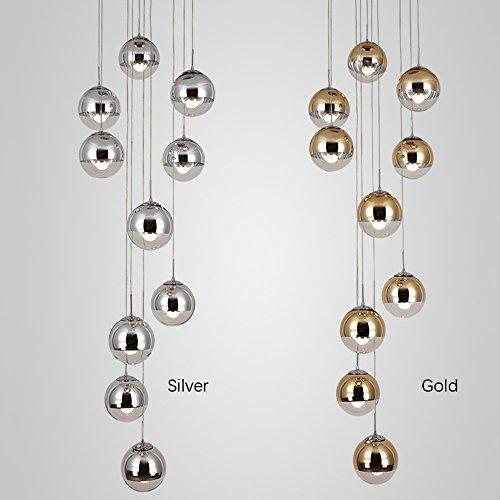 moderne Treppe Kronleuchter 10 Glaskugeln kreative Persönlichkeit Wohnzimmer Leuchte minimalistischen langen Pendelleuchte, 40 * 200 cm (Farbe : Gold) - 2