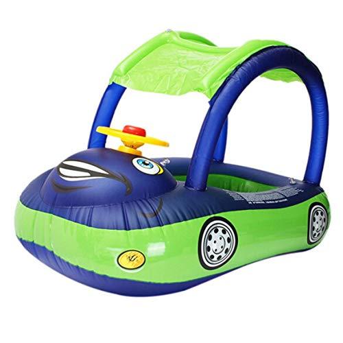 JohnJohnsen Float Karton Sonnenschirm Baby-Wasser PVC-Sitz Boot mit Canopy Schlauchboot Kleinkind-Schwimmen-Ring mit Lenkrad (dunkelblau & grün)