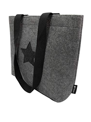 Tebewo Shopping-Bag aus Filz, kleine verschließbare Einkaufs-Tasche mit Henkel, Einkaufskorb, Faltbare Kaminholztasche zur Aufbewahrung von Holz, vielseitige Tragetasche, Farbe grau