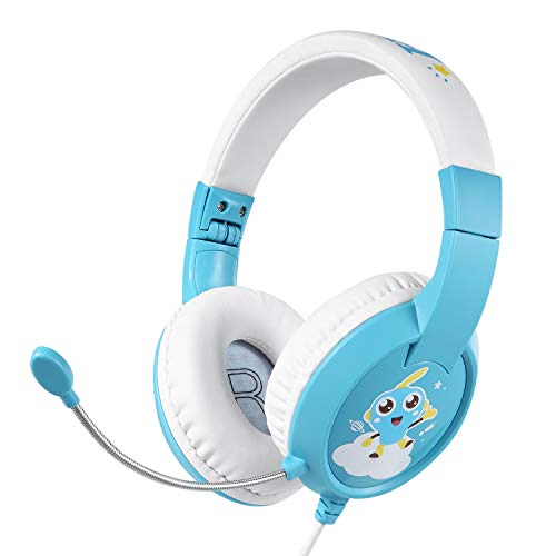 EasySMX Kinder kopfhörer, Faltbare Leicht-Kopfhörer mit 85Db Lautstärkebegrenzung, Gehörschutz für Geteilte Audiodaten, professioneller Kinderheadset, 3,5-mm-Stecker mit Kabelsteuerung