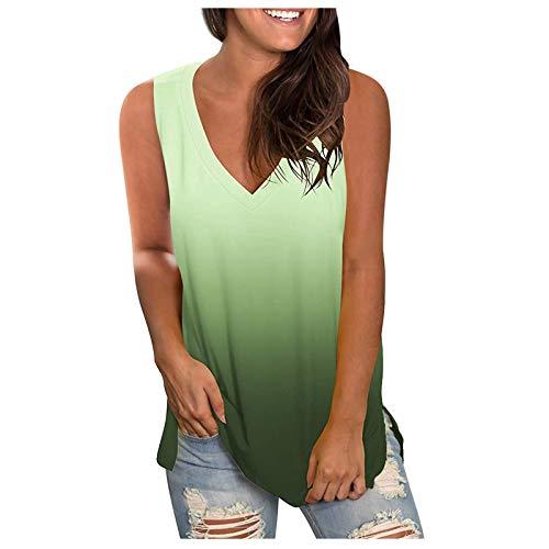 Fcostume Tie-Dye Débardeur pour femme Col en V T-shirt Haut sans manches Crop Tops T-shirt Cami Crop Top Blouse Tunique Débardeur - Noir - Taille Unique