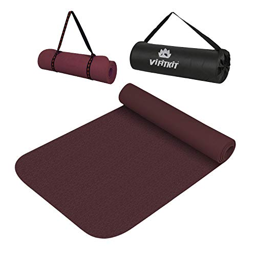 VIFITKIT Non Slip Yoga Mat Build by Lightweight Strong Material High Density Anti-Slip Yoga mats for Home, Gym, Men & Women Workout (Wine, 8mm)