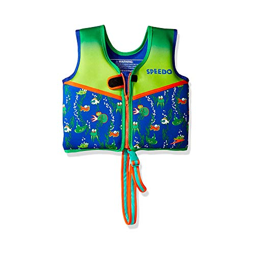 Speedo Unisex-Child Swim Flotation Classic Life Vest Begin to Swim UPF 50 Sapphire Blue Printed Medium