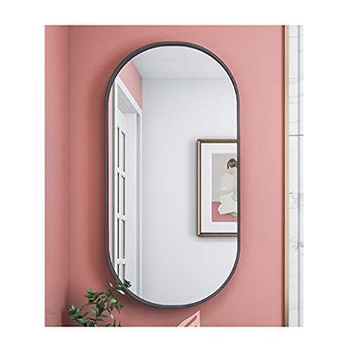 XDD Espejo de Baño Ovalado Espejo de Pared Marco de Metal de Imágenes HD Impermeable Y A Prueba de Humedad Instalación Perforada Negro Y Dorado Dos Colores Opcionales