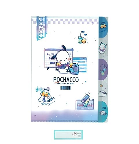 サンリオ ダイカット 5インデックス クリアファイル A4 収納 日本製 ポチャッコ ファッション 当店オリジナルロゴ入り名前シール 2点セット(クリアファイル、名前シール)