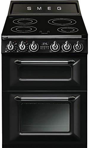 Cuisiniere induction Smeg TR62IBL - Cuisinière 60 cm Noir - Table de cuisson Induction - Four Electrique 61 + 35 litres - Nettoyage Email easy-to-clean - Classe énergétique A